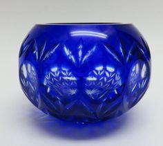 Bohemian Czech Cobalt Blue Cut to Clear Cased Cut Crystal Votive Candle Holder