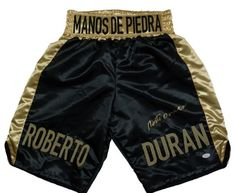 Roberto Duran Signed Black and Gold Boxing Trunks Manos De Piedra JSA Brooklyn Pizza, Boxing Trunks, All In One, Sports, Gold, Shopping, Black, Boxing, Hs Sports