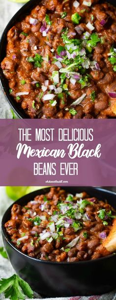 The Most Delicious Mexican Black Beans Ever - Oh Sweet Basil - Food: Veggie tables Mexican Beans Recipe, Mexican Black Beans, Mexican Food Recipes, Ethnic Recipes, Mexican Desserts, Side Dishes Easy, Side Dish Recipes, Dinner Recipes, Black Bean Recipes
