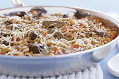 Beef Bruschetta Skillet recipe make with whole wheat rice and more veggies