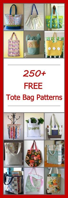 Lots of free tote bag patterns. DIY tote bag sewing projects & tutorials. Many simple and easy, basic designs. Large and small bags, zippered, quilted, lined, canvas, patchwork, and more.