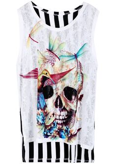 White Sleeveless Vertical Stripe Skull Print T-Shirt US$21.31 T Shirt Picture, Latest T Shirt, Character Inspired Outfits, Punk Fashion, Couture Fashion, Skull Print, White Shop, Fashion Lookbook, Shirt Designs