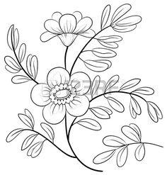 Résumé fleur symbolique, contours monochromes, isolé Banque d'images