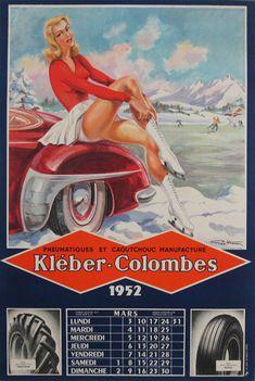 Kleber-Colombes Original Vintage Poster by G. Ham from 1952 France. www.Antiqueposters.com