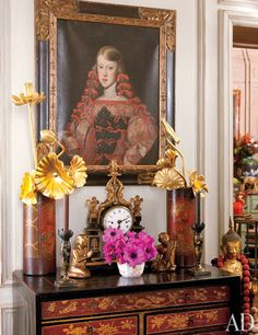 Iris Apfel's apartment. First painting Apfel ever bought - a portrait of the Infanta Margarita 60 yrs ago in Florence.