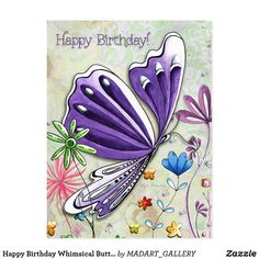 Great Big Canvas 'Let Your Dreams Be the Source of All Your Inspiration' by Megan Duncanson Graphic Art Print Format: White Frame, Size: H x W Purple Art, Purple Butterfly, Original Artwork, Original Paintings, Birthday Postcards, Birthday Cards, Birthday Wishes, Postcard Wedding Invitation, Bee Illustration