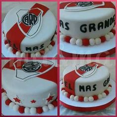 Torta Fútbol River Plate - $ 650,00 en Mercado Libre #futbolriverplate Cheesecake, Birthday Cake, Plates, Candy, Desserts, Food, Ideas, Birthday Treats, Candy Table