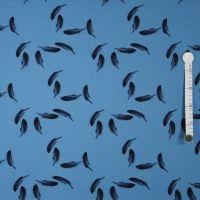 Baumwolljersey - Federn auf altblau