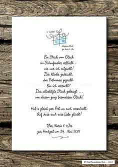 Gastgeschenke - Druck/Print: Glück verschenken - Hochzeitsgedicht - ein Designerstück von DiePersoenlicheNote bei DaWanda
