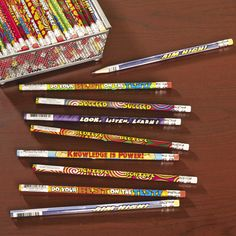 """""""Our Motivational Pencils are a natural choice for the classroom. When I was in school, I was thrilled when my teacher would let me choose a prize from the treasure chest – and I almost always chose a pencil."""" - Amy, Education Product Development Specialist for Oriental Trading Company Wooden Pencils, Reading Goals, Operation Christmas Child, Online Programs, Knowledge Is Power, Inspiration For Kids, Kids Corner, Oriental Trading, Classroom Management"""