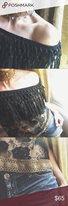 """Fringe & Lace Cold Shoulder I have a passion for altering my clothing.Each piece  is created using gently upcycled wares and materials , and comes with hangtags .Irregularities add to the uniqueness of the vintage ware and sold as is .Each piece is a """"One of a kind"""" design.  Black printed """"very sheer """"fabric with cotton fringe .  I added a band of coco cotton lace to the hemline. Striking!!! Wear on or off the shoulders . Top only this listing . Necklace has a separate listing . Measurements…"""