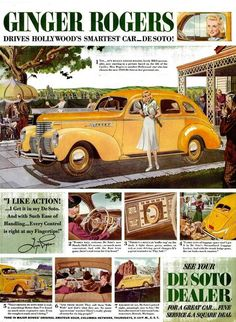 Ginger Rogers drives DeSoto in 1938