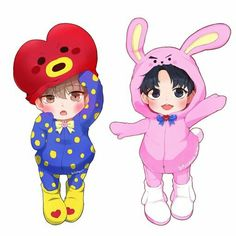 TAe tAe in a TaTa costume and Kookie in a Cooky costume🤣 Vkook Fanart, Taehyung Fanart, Bts Chibi, Anime Chibi, Taekook, V Bts Wallpaper, Jungkook V, Bts Drawings, Fan Art