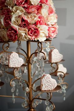Gorgeous Valentine Centerpiece of cookies and flowers from Hostess with the mostess