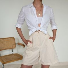 Adding a shirt to high waisted shorts