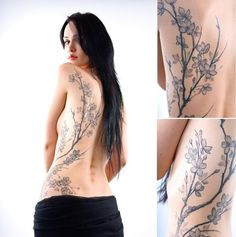 placement - starts on the side exactly like this, but the top branch curves instead of going straight up to the shoulder - black cherry blossom