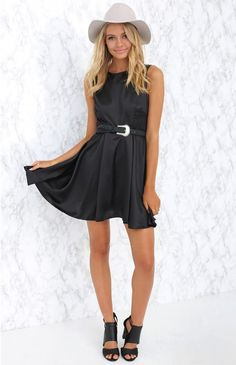 We love to wear the simply stylish Taking Care Of Business Dress Black with white strappy heels and a bold lip for a chic party look (and leave the business behind!)