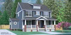 House Plan 2234-B The GREGG B elevation - Classical Two-Story Craftsman design with 3 bedrooms and 2 baths upstairs. Large, open living space with formal Dining and Study. Large Laundry Room with half bath. Two fireplaces and covered porches front and rear.