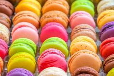 Mousepads traditional french colorful macarons in a rows in a box IMAGE ID… Macarons, Pastel Macaroons, French Macaroons, Famous Desserts, Unique Desserts, Macaroon Wallpaper, Scary Halloween Food, Buttercream Filling, Sweet Cakes