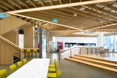 Microsoft Vancouver HQ Office, Canada. The adaptive reuse project entailed transforming the top two floors of the building into an open and flexible office for the company's growing workforce of nearly 600 employees in the Canadian city.