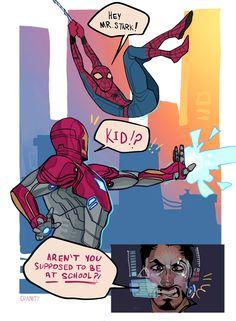 Spiderman - Iron Man comic we all need it Avengers Humor, Marvel Avengers, Marvel Comics, Funny Marvel Memes, Dc Memes, Marvel Jokes, Marvel Heroes, Captain Marvel, Captain America