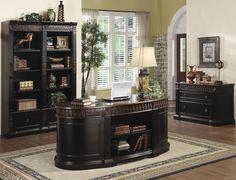 Nicolas Traditional Oval Executive Double Pedestal Desk & Bookcase &File Case