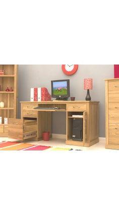 BaumHaus Mobel Oak Twin Pedestal Computer Desk | Free Delivery | Corban Direct
