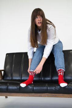 Looking ahead to another week of hangin' out on the couch? At least make yourself comfortable with some Keep It Simple Socks 🧦 Under Pants, Keep It Simple, Falling Down, Casual Looks, At Least, Socks, Couch, Legs, Formal