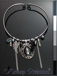 """KM306 Collier aluminium """"Fashionista"""" anthracite et argenté : Collier par kimcap-creations"""
