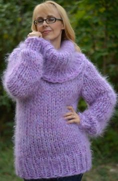 Items similar to ORDER hand knitted mohair sweater handmade mohair jumper Cowlneck sweater chunky mohair pullover pink mohair fuzzy sweater L XL on Etsy Thick Sweaters, Wool Sweaters, Sweaters For Women, Laine Chunky, Gros Pull Mohair, Jumper, Mohair Sweater, Turtleneck, Booties Crochet