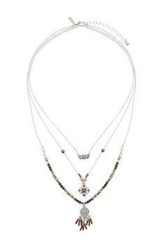 Filigree Charm Bead Multi-Row Necklace
