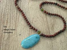 Red Jade stone Prayer bead necklace with Large by Laineybean, $55.00 Carnelian #Mala Bead necklace with #turquoise pendant