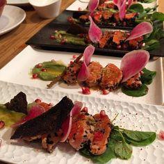 Samay series - salmon Tataki in cocoa nibs crust avocado pudding  grapefruit vinaigrette! #eatwith #chefalejandra #events #SF #sfchef #sffoodies #yumm #Samay #tataki by alejandra.becreative