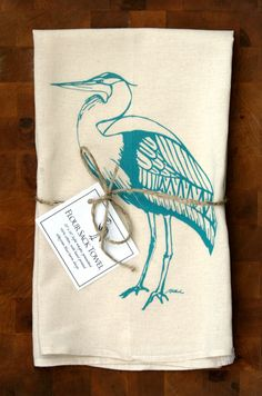Blue Heron Flour Sack Towel by jhowardstudios on Etsy, $13.00