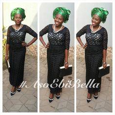 Black Lace Blouse & Wrapper & Green & Gold Gele