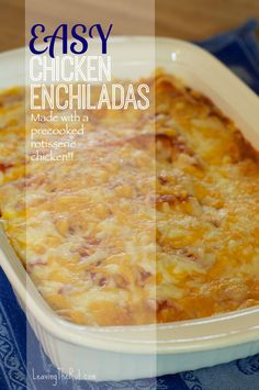 MADE* (Very tasty, especially 2nd day. Good when you use some taco sauce on top! Can make and freeze to hear later!) Easy Chicken Enchiladas