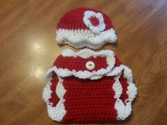 Crocheted Valentine's day beanie and diaper cover.  Sets are 25.00.