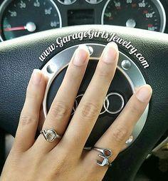 Turbo Ring and Wrench Ring to match the Audi! Order yours online www.GarageGirlsJewelry.com #garagegirls #carjewelry #automotivejewelry #theoriginal #handmade #turbo #turbocharger #turboring #wrench #wrenchring #spanner #spannerring #ladymechanics #ladydriven #audi #audigirls #auditt