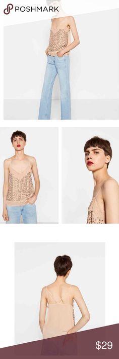 NWT Zara Strappy Top w/ Sequin Embroidery Zara Strappy Top w/ Sequin Embroidery Zara Tops Camisoles