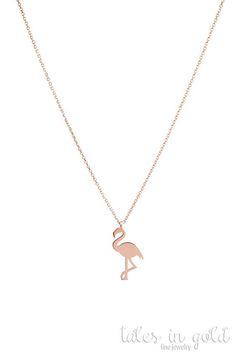 Gold Flamingo Necklace Pink Flamingo Necklace 14k Gold