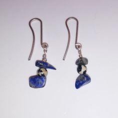 Beautiful Lapiz Lazuli & Dalmatian Jasper Earrings Bellos aretes