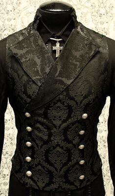 SHRINE GOTHIC VAMPIRE CAVALIER BLACK VEST JACKET VICTORIAN TAPESTRY  STEAMPUNK  4f97297003