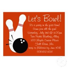 Im not sure appropriate for kid party but i like this design lets bowl party invitation with two bowling pins and ball easy customizable text and perfect stopboris Choice Image