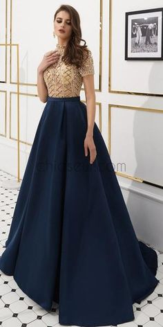 Simple Dresses - Plain Prom Dresses and Formal Gowns] Navy Prom Dresses, Shrug For Dresses, Indian Gowns Dresses, Prom Dresses Long With Sleeves, Indian Fashion Dresses, Gala Dresses, Lace Bridesmaid Dresses, Simple Dresses, The Dress