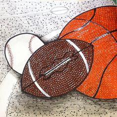 #mulpix #art #basketball #baseball #football #creativeprocess #draw #doodle #drawing #gift #happyfathersday #ink #microns #pen #pennink #sharpees #spots #texture