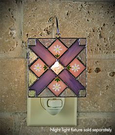 Four Points Quilt night light cover stained glass