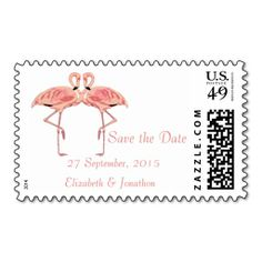 Flamingo Tropical Save the Date custom US postage for weddings and special events