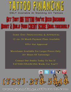 Standing Art Tattoos & Art Gallery Now Offering TATTOO FINANCING!!!      #standingart #standingarttattoos #inkedgirls #tattooed #tattoo #tattoos #cash #tattoofinancing #financing #finance #money #afterinked #eternalink #h2ocean #sullenclothing #steadfastbrand #intenze #art #artist #pinterest #hashtag #facebook #youtube #twitter #instagram #tatsoul #tatuaje #dreamtattoo #bigtattoos #tampa #florida #ink #tattooing #artwork #tattooartist #tatuajes #customart #customtattoos #tattooedpeople…