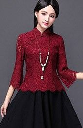 Lace Qipao / Cheongsam Shirt with Long Sleeves
