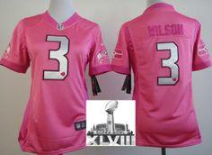 Women Nike Seattle Seahawks 3 Russell Wilson Pink Love 2014 Super Bowl XLVIII NFL Jerseys